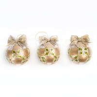 Mackenzie Childs Pinecone Ball Tree Decorations Set Of 3 Gold