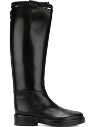 Ann Demeulemeester Calf Length Buckled Boots Black