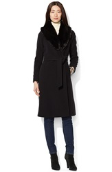 Lauren Ralph Lauren Faux Fur Collar Long Wool Blend Wrap Coat Black