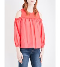 Clu Cold Shoulder Silk And Cotton Blend Top Coral