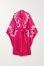 Carine Gilson Chantilly Lace Trimmed Silk Satin Robe Bright Pink