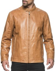 Marc New York Rhinecliff Leather Moto Jacket Cognac
