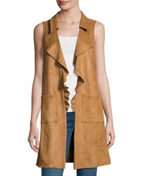 Moon River Sleeveless Faux Suede Long Vest Brown