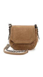 Rag And Bone Bradbury Mini Flap Chain Hobo Bag Camel Suede