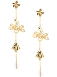 Alberta Ferretti Flower Drop Earring Gold