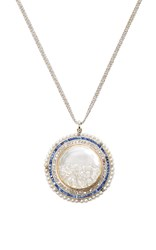 Renee Lewis Natural Pearls French Cut Sapphires And Diamonds Rimmed White Diamond Shake Necklace Blue