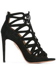 Aquazzura Back Zip Lace Up Sandals Black