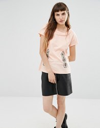 Love Moschino Zip Print T Shirt Pink