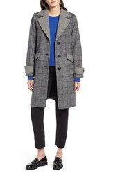 Halogen Plaid Mix Wool Coat Black Ivory Plaid