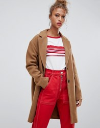 Pull And Bear Pullandbear Button Front Coat In Tan Brown