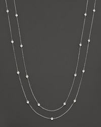 Bloomingdale's Double Strand Diamond Station Necklace In 14K White Gold 0.50 Ct. .T.W. White Gold White Diamonds
