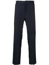A.P.C. Pinstripe Tailored Trousers Blue