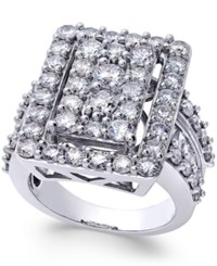 Macy's Diamond Square Cluster Engagement Ring 4 Ct. T.W. In 14K White Gold