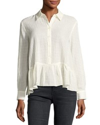 The Great Ruffle Flounce Hem Oxford Shirt Cream