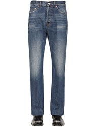 Balenciaga Cropped Japanese Cotton Denim Trousers Blue