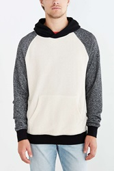 Bdg Speckled Colorblocked Pullover Hooded Sweatshirt Ivory