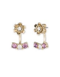 Lonna And Lilly Worn Goldtone Flower Stud Drop Earrings Purple