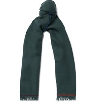 Loro Piana Four In Hand Fringed Cashmere Scarf Green