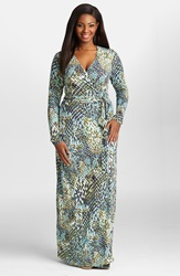 Mynt 1792 Jersey Wrap Maxi Dress Plus Size Python Green