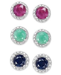 Victoria Townsend Emerald 1 2 Ct. T.W. Ruby 5 8 Ct. T.W. And Sapphire 5 8 Ct. T.W. Earring Set In Sterling Silver