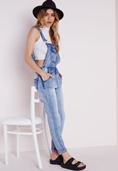 Missguided Distressed Skinny Dungaree Summer Blue