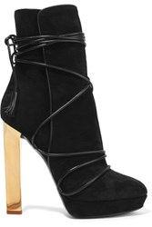 Emilio Pucci Leather Trimmed Suede Ankle Boots Black