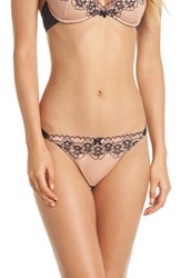 Boux Avenue Floral Embroidered Thong Blue Mix