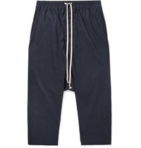 Rick Owens Cropped Cotton Drawstring Trousers Navy