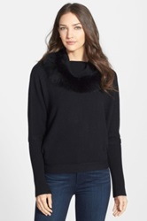 Sofia Cashmere Cowl Neck Cashmere Sweater With Genuine Fox Fur Black