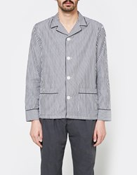 Officine Generale Alan Overshirt Cotton Stripe Black White