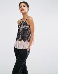 Asos Cami In Knitted Chiffon And Lace Mink Pink