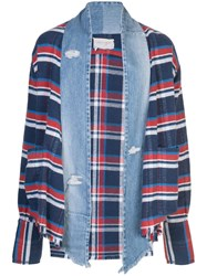 Greg Lauren Striped Denim Cardigan Blue