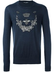 Dolce And Gabbana Crown Bee Jumper Blue