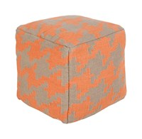Surya Frontier Cube Pouf 2 Bright Orange Cream Small