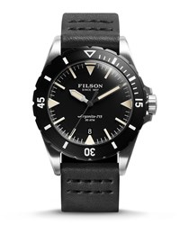 43Mm Dutch Harbor Watch With Leather Strap Black Men's Filson