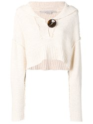 Stella Mccartney Cropped Knitted Jumper White