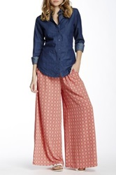 Romeo And Juliet Couture Printed Wide Leg Pant Red