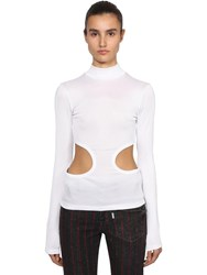 Filles A Papa Cut Out Ribbed Cotton Jersey T Shirt White