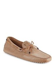 Tod's Lace Tie Moccasins Tan