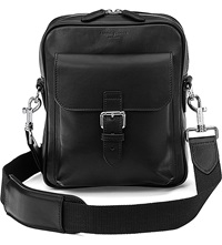 Aspinal Of London Harrison Small Leather Messenger Bag Black