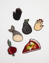 Monki Iron On Patches Red Multi
