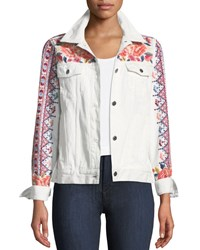 Johnny Was Denim Jacket With Embroidery White