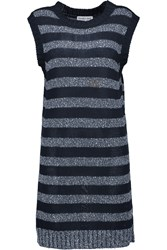 See By Chloe Striped Knitted Cotton Mini Dress Blue