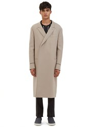 Lanvin Double Breasted Contrast Stitch Coat Beige