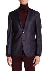 Ike Behar Charcoal Plaid Double Button Notched Lapel Wool Jacket Black