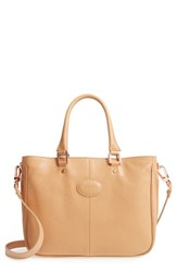 Longchamp Mystery Leather Satchel Beige Natural