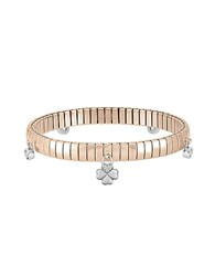 Nomination Rose Gold Pvd Stainless Steel Women's Bracelet W Charms And Cubic Zirconia Pink