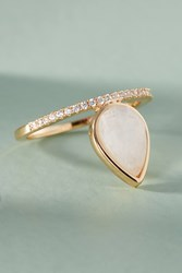 Melanie Auld Gemstone Teardrop Ring White