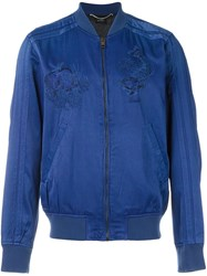 Diesel Embroidered Bomber Jacket Blue