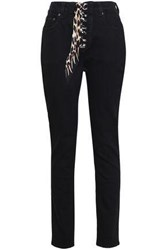 Rockins Lace Up High Rise Slim Leg Jeans Black